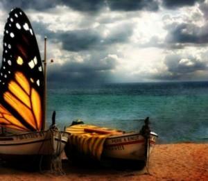 barche-mare-spiaggia-farfalla-cielo-nuvole